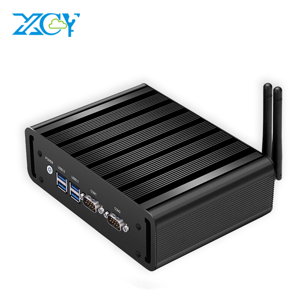 XCY Mini PC Dual LAN Core I7 5500U I5 5200U I3 5005U HD Graphics 5500 Windows 10 Wifi Hdmi 2*COM HTPC TV Box Mini Computer