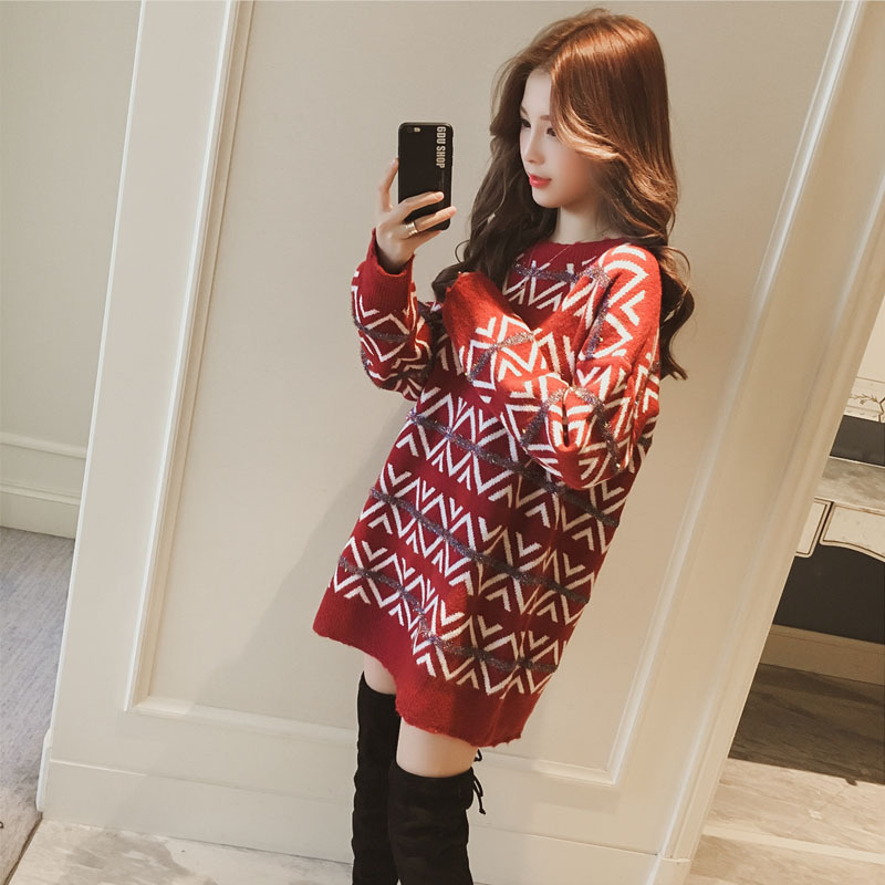 O neck knitting pullover And Sweater women long loose Argyle bottoming sweater thick warm autumn Autumn 2018 long sleeve Jumper 13