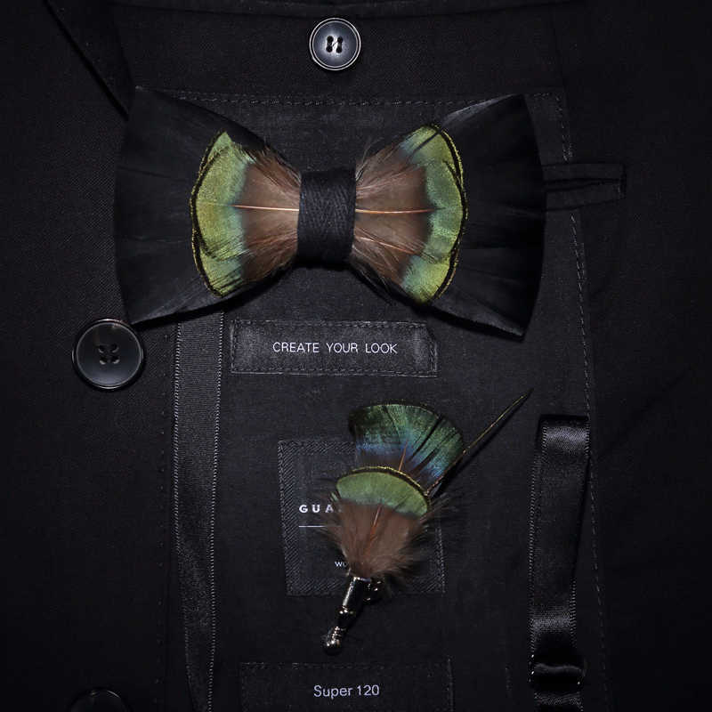 b1bab406c0bd ... JEMYGINS Original Design Black Green Bird Feather Bow Tie Handmade  Bowtie Brooch Gift Wooden Box Combo