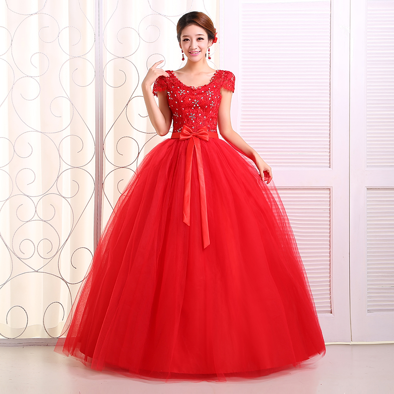 2014 hot red wedding dress princess bubble double shoulder wedding ...