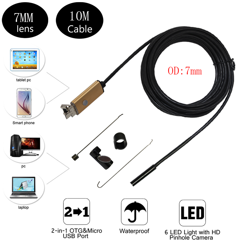 7mm Lens 10M Cable IP67 Waterproof Micro USB Endoscope Portable Camera For font b Android b