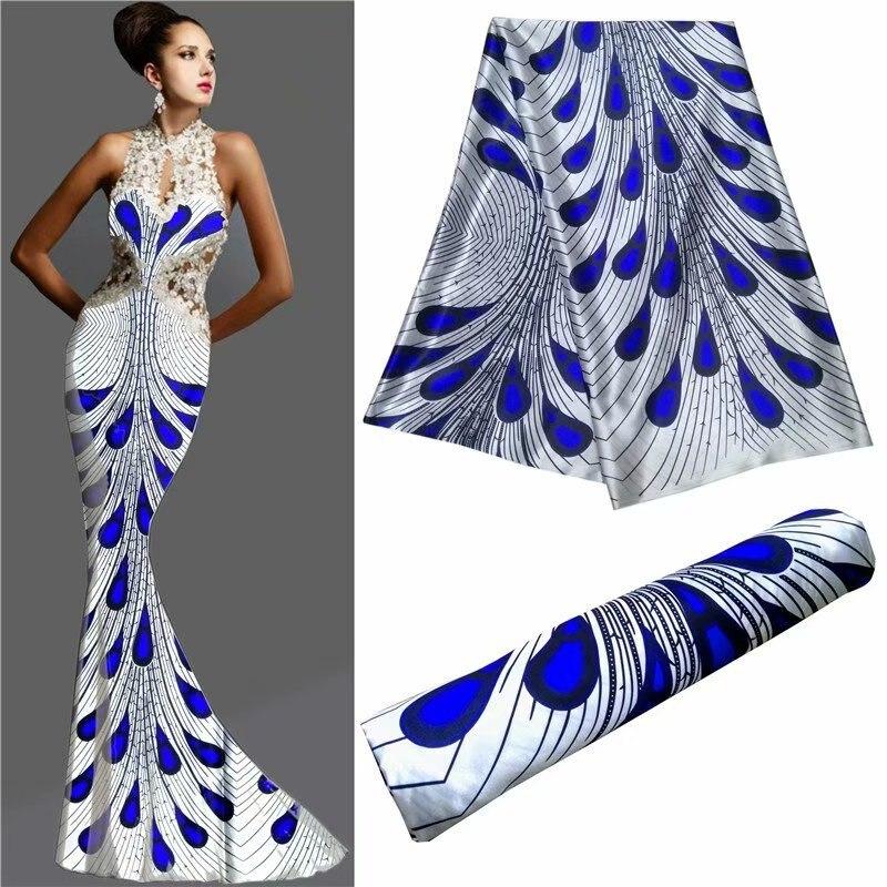 Tissu en Satin de soie imprimé de haute qualité pour robe en soie africaine Georgette Satin imité tissu imprimé numérique en soie LP30