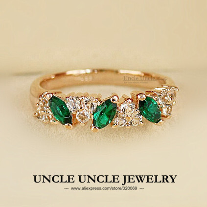 Delicate!!! Rose Gold Color Olive Branch Style Austrian Crystal Green Jewelry Lady Finger Ring Wholesale