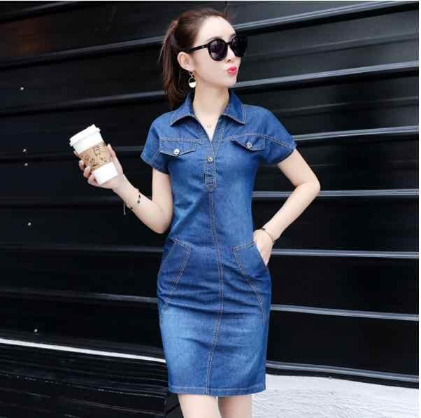 2019 летнее джинсовое платье для женщин, плюс Размер 3XL, воротник-стойка, короткий рукав, тонкие джинсовые платья, Брендовые платья, женская одежда AW695