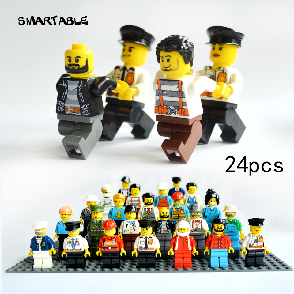 Smartable 24pcs/lot Building Blocks Figures brick DIY toys Compatible Legoing Figures Police soldier 24 occupations for gift smartable bionicle 191pcs umarak destroyer figures 614 building block toys compatible legoing bionicle lepin gift
