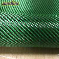 Tissu hybride vert de tissu de Fiber d'aramide de carbone 3 K fibre d'aramide verte épaisseur de 190gsm 0.2mm