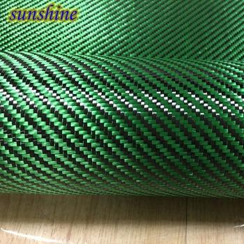 Zielone włókno aramidowe hybrydowe tkaniny 3K włókno węglowe zielone włókno aramidowe 190gsm 0 2mm grubości tanie i dobre opinie Tkane Bonded Para aramidowe carbon fiber Kevlar tkaniny Odporne na ścieranie Tkaniny z włókna węglowego Twill 500mm