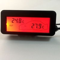 12V Car Inside Outside Temperatue Meter Mini LCD Digital Car Thermometer Red Backlight Vehicles Termometro 1