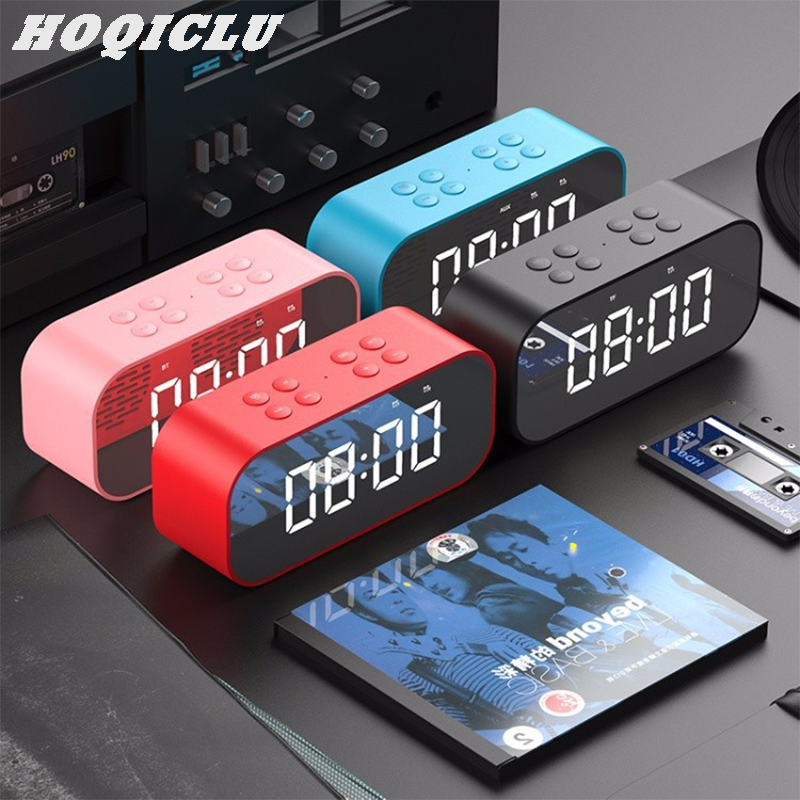 Bluetooth Portable Speaker Plastic Battery Connect Bracket MP3 LED Alarm Clock Wireless Mini Mirror with Screen Clock Gift Card