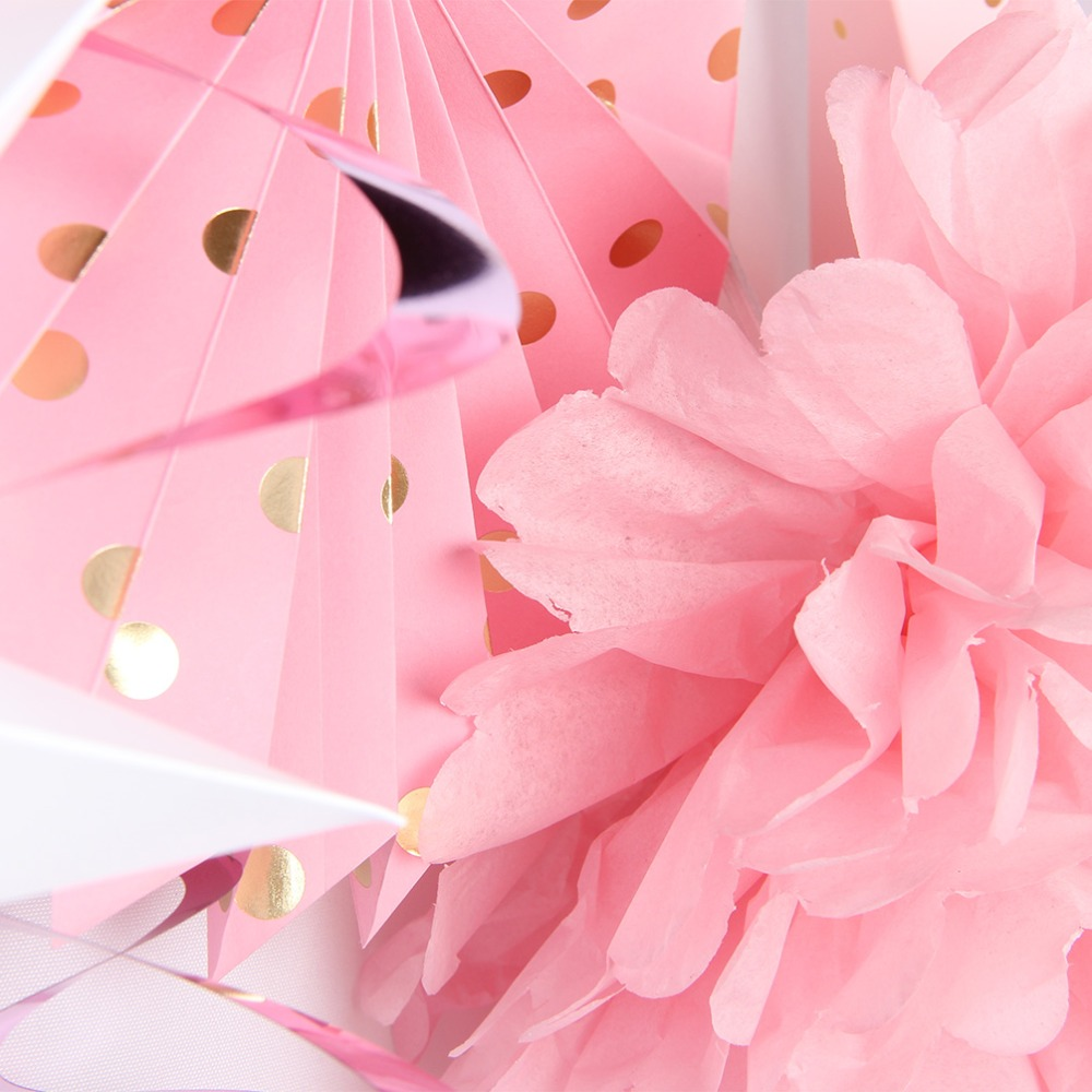 Set of 11 Pink Girl Birthday Party Decorations Romantic Star Lanterns Pom Poms Honeycombs Fans Home Decor 2018 New Arrival in Party DIY Decorations from Home Garden