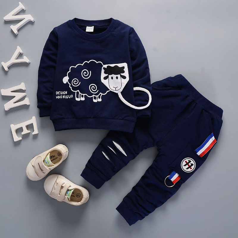 Baby Boy Clothes 2017 Autumn Cartoon Sheep Full Sleeve T-shirts Tops + Pants 2PCS Outfits Kids Bebes Jogging Suits Tracksuits