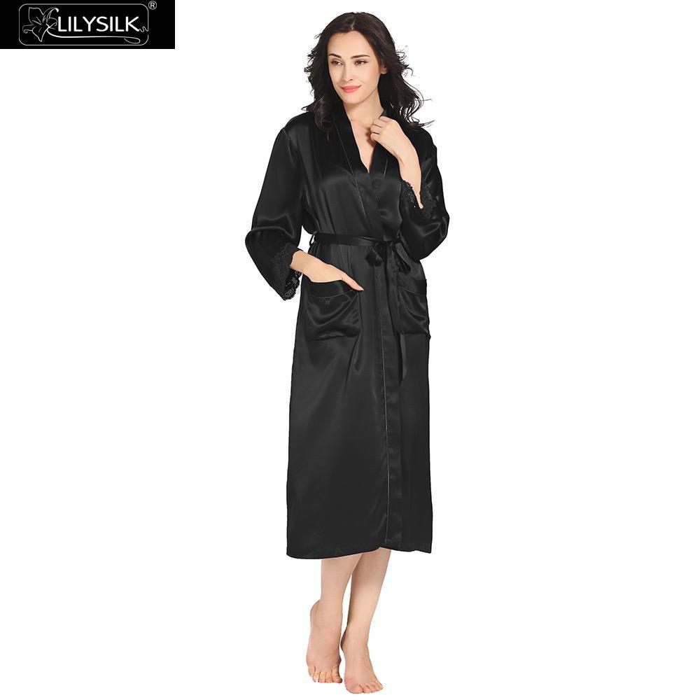 LilySilk Robe Sleepwear Bathrobe Women Female Natural Silk Gowns Lace Bride 22 momme Long Sleeve Luxury
