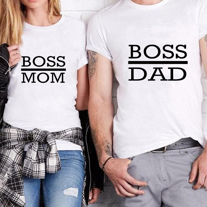 Showtly Boss Dad And Boss Mom Letter CoupleT-shirt Women's Clothes 2019 Fashion Funny Saying T Shirts Mom Wife Feminist Slogan