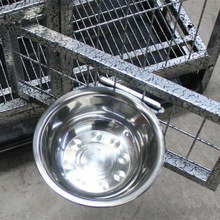 Hanging stainless steel dog bowl pet water cat food hanging cage