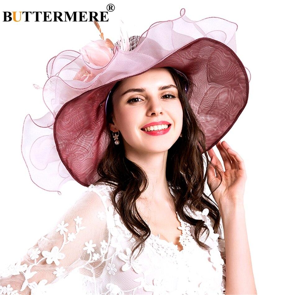 BUTTERMERE Purple Sun Hats Women Organza Elegant Kentucky Derby Hats Ladies Flower Wedding Formal Summer Church Caps Female