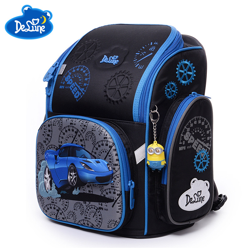Torby szkolne dla dzieci zmniejszenie obciążenia plecaki do szkoły podstawowej 3D samochód druku ortopedyczne szkoła plecak dla chłopców Mochila Infantil w Torby szkolne od Bagaże i torby na  Grupa 2