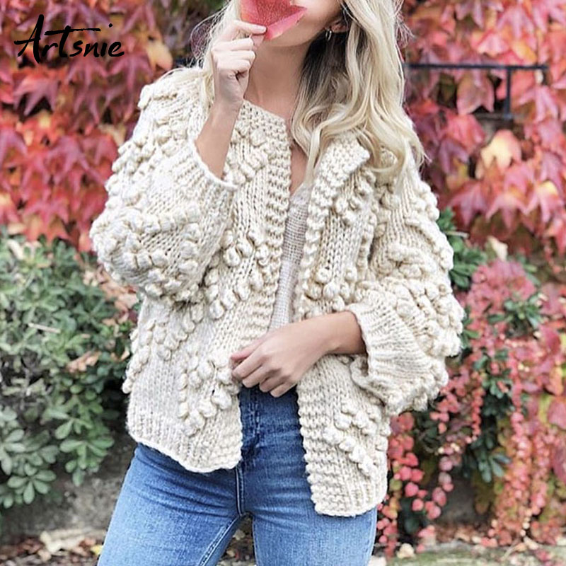 Artsnie Streetwear Tassel Hand Knitted Cardigans Women Autumn 2018 Lantern Sleeve Casual Sweaters Winter Girls Jumper