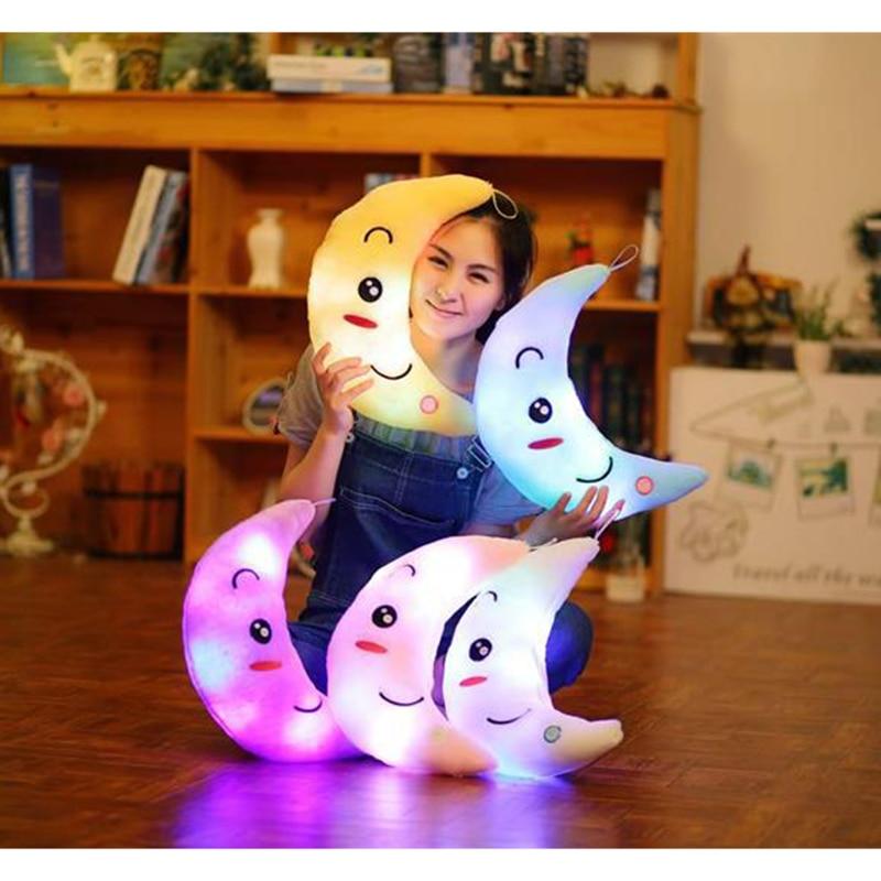 Birthday Gift Colorful Moon Smiley Face,kids Toys Led Light Pillow,plush Pillow 38x15cm Luminous Pillow Christmas Toys