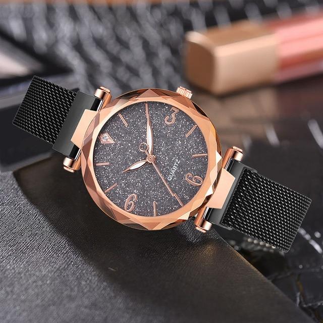Rose Gold Women Watch 2019 Top Brand Luxury Magnetic Starry Sky Lady Wrist Watch Mesh Female Clock For Dropship relogio feminino 1