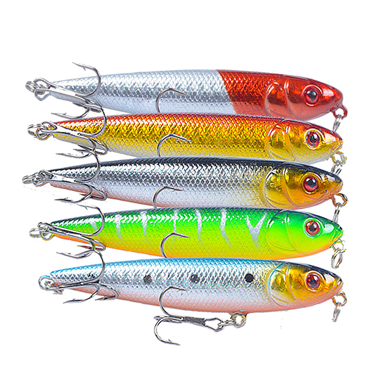 Image 4 - 8cm 9.5g Pencil Fishing Lure Snake Head Hard Artificial Bait 3D Eyes 6# Hooks Fishing Wobblers Topwater Crankbait Minnow Pesca-in Fishing Lures from Sports & Entertainment