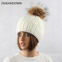 ผู้หญิงขนพู่หมวกสุภาพสตรีฤดูหนาวมุกหมวกหมวกขนกระต่ายผสมถักหมวกยี่ห้อหญิงหนาหมว