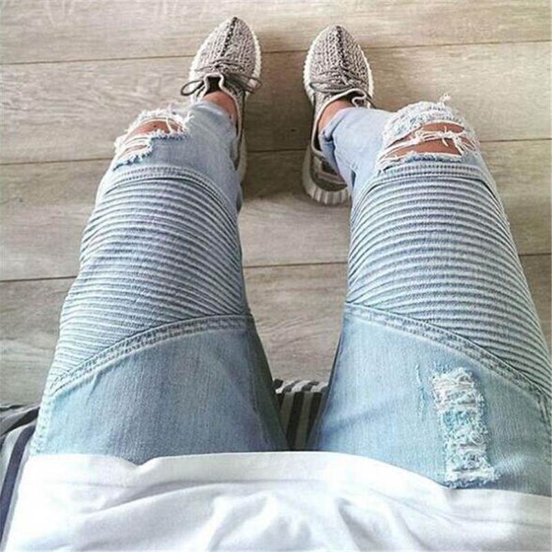 Plus Size designer pants blue/black destroyed mens slim denim straight biker skinny jeans men ripped jeans