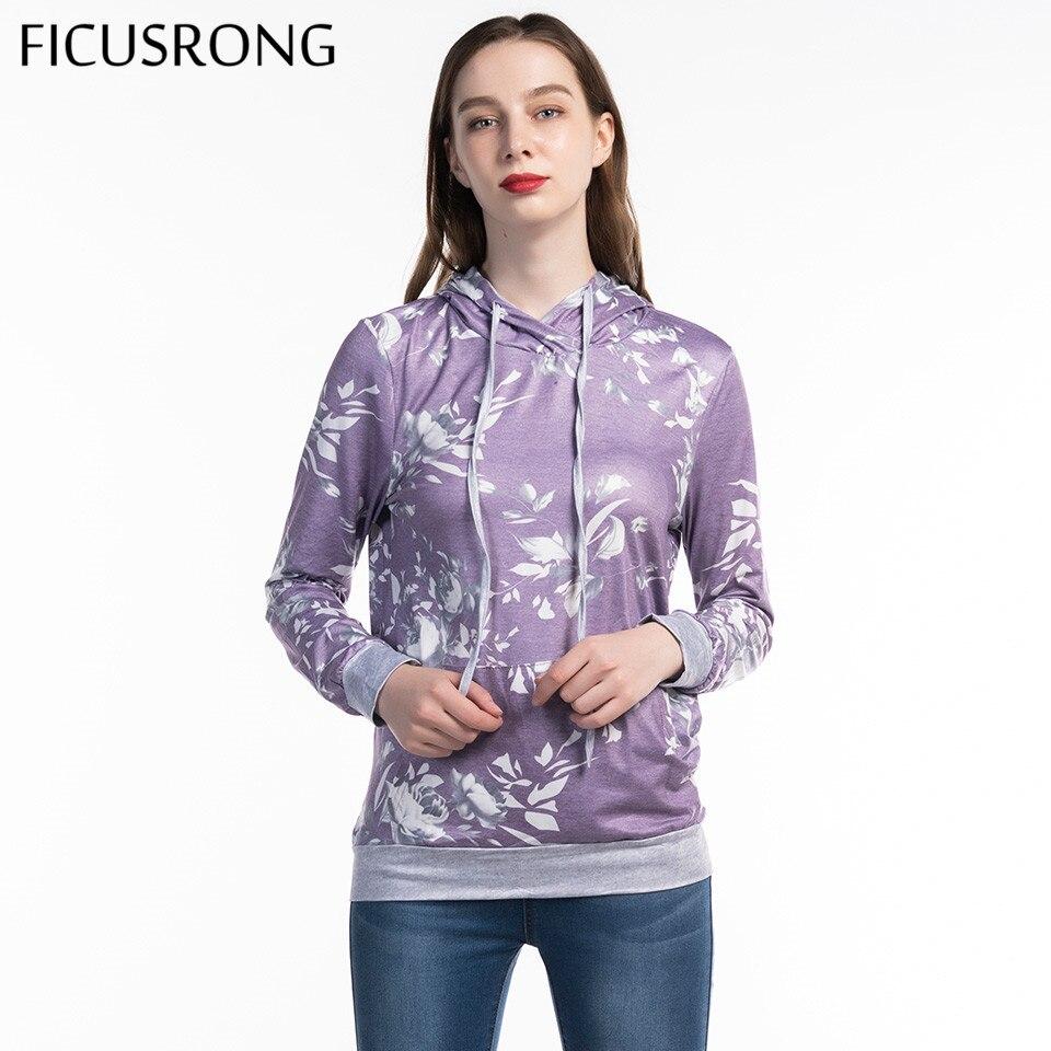 FICUSRONG New Women Hoodies Sweatshirt 2019 Spring Autumn Causal Ladies Hooded Printed Slim Tops Long Sleeve Pullover Coat in Hoodies amp Sweatshirts from Women 39 s Clothing