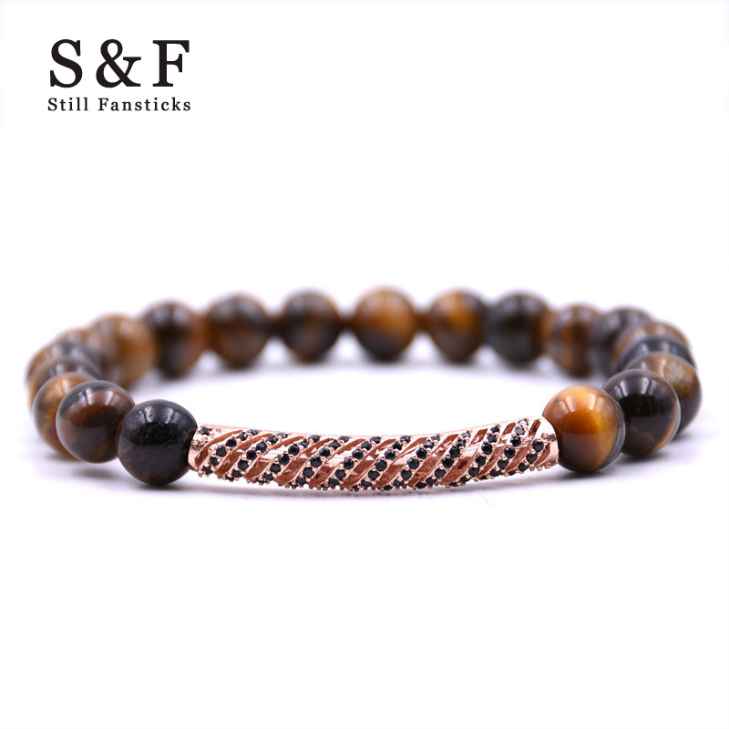 Copper Tube Bracelet Charms Bracelet Men Jewelry 8mm Hademade Braslet Stone Man Bracelets & Bangles Pulseira Masculina For Women