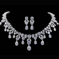 925 sterling silver jewelry set for Wedding Aniversary Large Bridal Choker Necklace drop earring Women african Design J2380