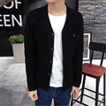 Fashion Mens Slim Fit V-neck Knitwear Pullover Cardigan Sweater Single Breasted Coat Tops Casual Sweater  M-2XL black grey