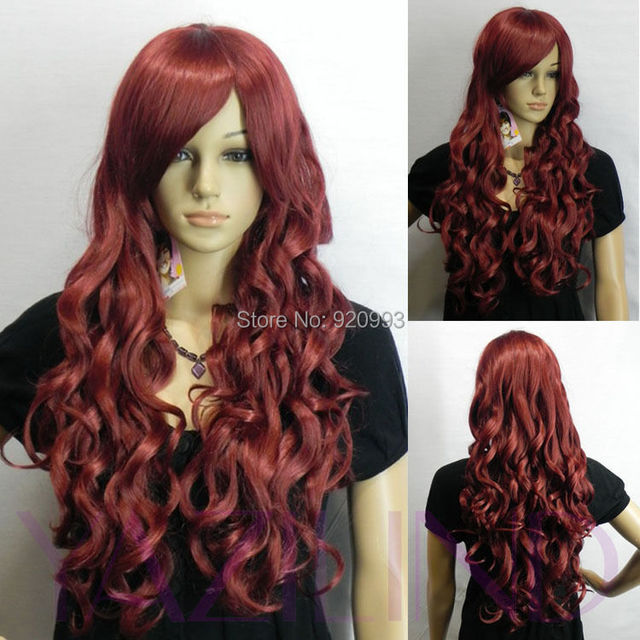 Free Shipping Red Wine Perm Curly Wave Hair Ramp Bangs Fringe