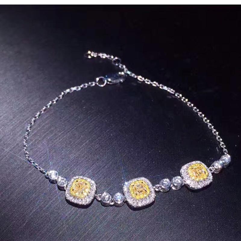 ANI 18K White Gold (AU750) Bracelet Certified 0.57 Carat H/SI Natural Yellow Diamond Jewelry for Women Romantic Engagement Gift цена