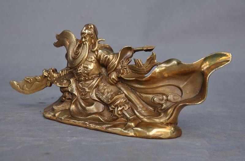 christmas China Famous Generals brass copper Dragon Guan Gong Guan Yu warrior God Statue halloween in Statues Sculptures from Home Garden