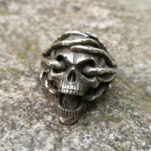 Thorns Skull 316L Stainless Steel Ring Silver Biker Jewelry Mens Gothic Rings