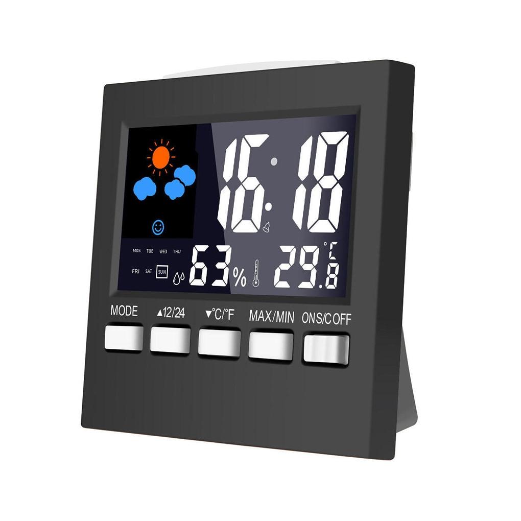 Electric Desktop Clock Alarm Colorful LCD Screen Sound Control Backlight Digital Clock Date Time Calendar Desk Watch