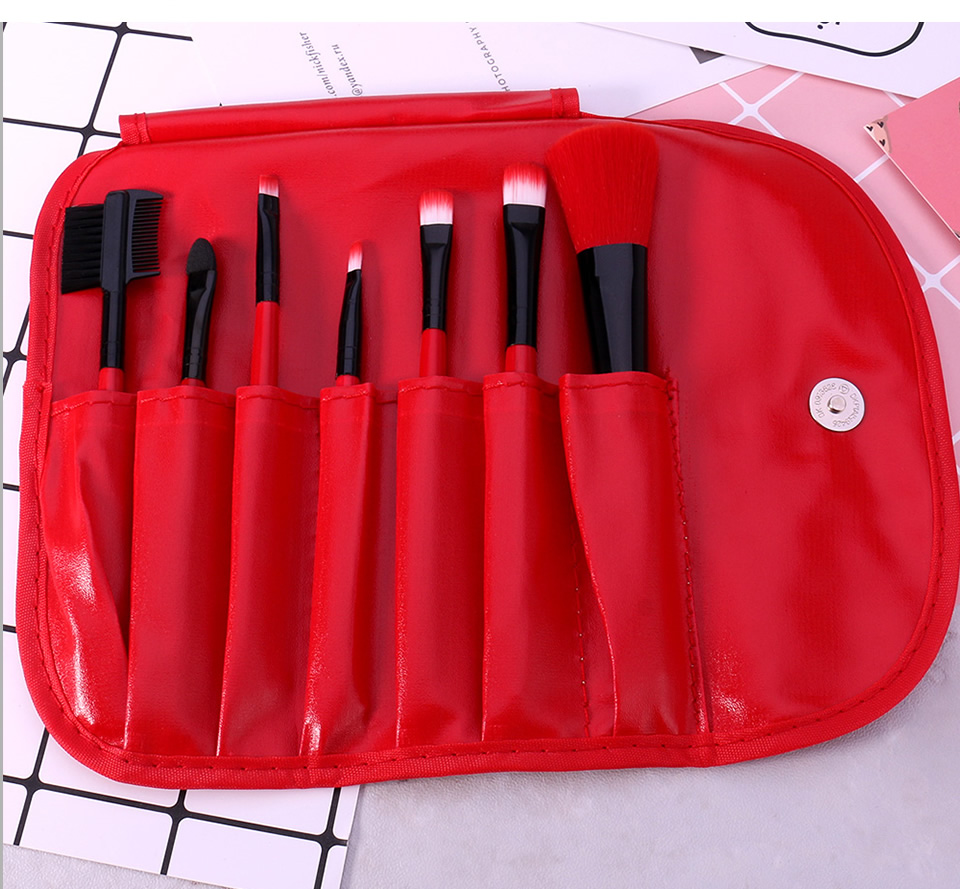 O.TWO.O Makeup Brushes Set 7pcs/lot Soft Synthetic Hair Blush Eyeshadow Lips Make Up Brush With Leather Case For Beginner Brush 12