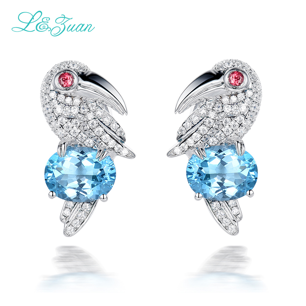 I&Zuan 925 Sterling Silver Stud Earrings For Women Natural 4.69ct Topaz Blue Luxury Fine Jewelry Bird Parrot Earring Brincos hct005 best selling 8pcs pack 16x14x500mm 3k twill matte tubes rod boom 100% carbon fiber resin
