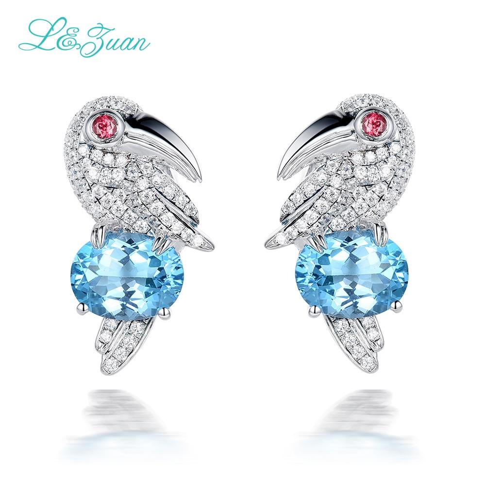 I & Zuan 925 boucles d'oreilles en argent Sterling pour femmes naturel 4.69ct topaze bleu luxe bijoux fins oiseau perroquet boucle d'oreille Brincos
