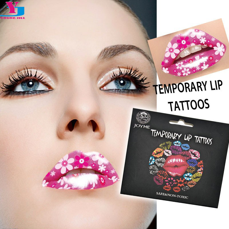 3D Pink With Beauty Flower Waterproof Temporary Lip Tattoo Ss