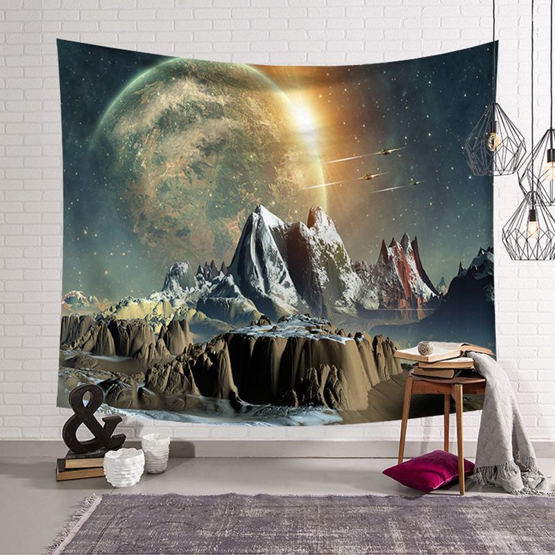 Hot Sale Amazing Graceful Night Starry Sky Beautiful Sight Printed Wall Hanging Tree Natural Scenery Tapestry Living Room Decor