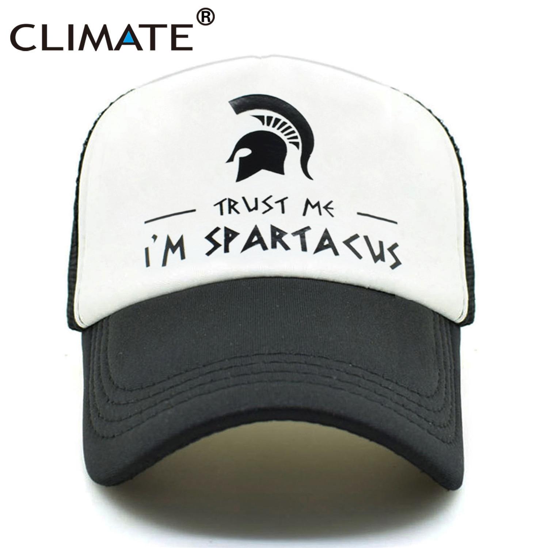 CLIMATE Spatacus Trucker   Caps   Men Spartak Black   Caps   Hot Summer I Am Spatacus Spartan Cool   Baseball   Mesh Net Trucker   Cap   Hat