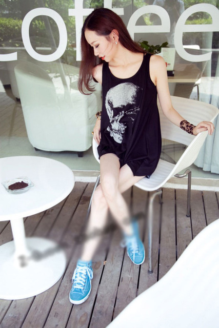 Design Women\'s Punk Skull Print Asymmetrical Hollow Back Girl Shirt Tops  E0514