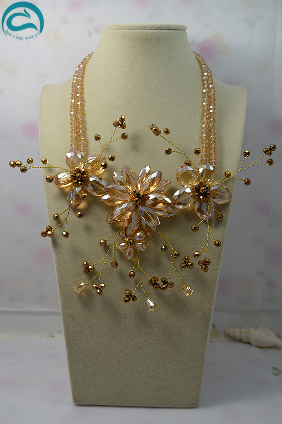 New Arriver Flower Jewellery 2Rows Champagne Color Crystal Flower Necklace,Handmade Fashion Women Gift Birthday GiftNew Arriver Flower Jewellery 2Rows Champagne Color Crystal Flower Necklace,Handmade Fashion Women Gift Birthday Gift
