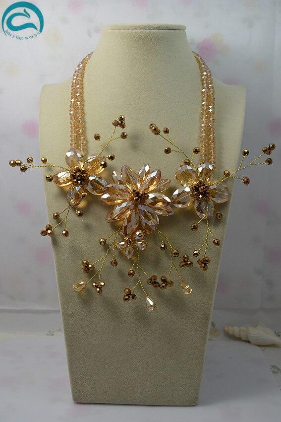 Nouveau Arriver fleur bijoux 2 rangées Champagne couleur cristal fleur collier, fait à la main mode femmes cadeau d'anniversaire cadeau