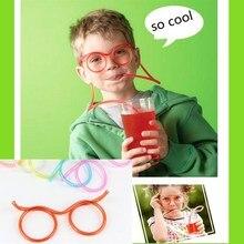 10pcs Funny Soft Drinking Straw Eye Glasses Novelty Toy Party Birthday Gift Child Adult DIY Straws Decorations