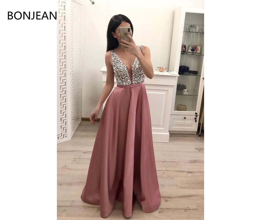 Cheap 2019   Prom     Dresses   Stunning Sleeveless Blush Pink Satin Long Beading Sequins A Line V Neck Evening Gown
