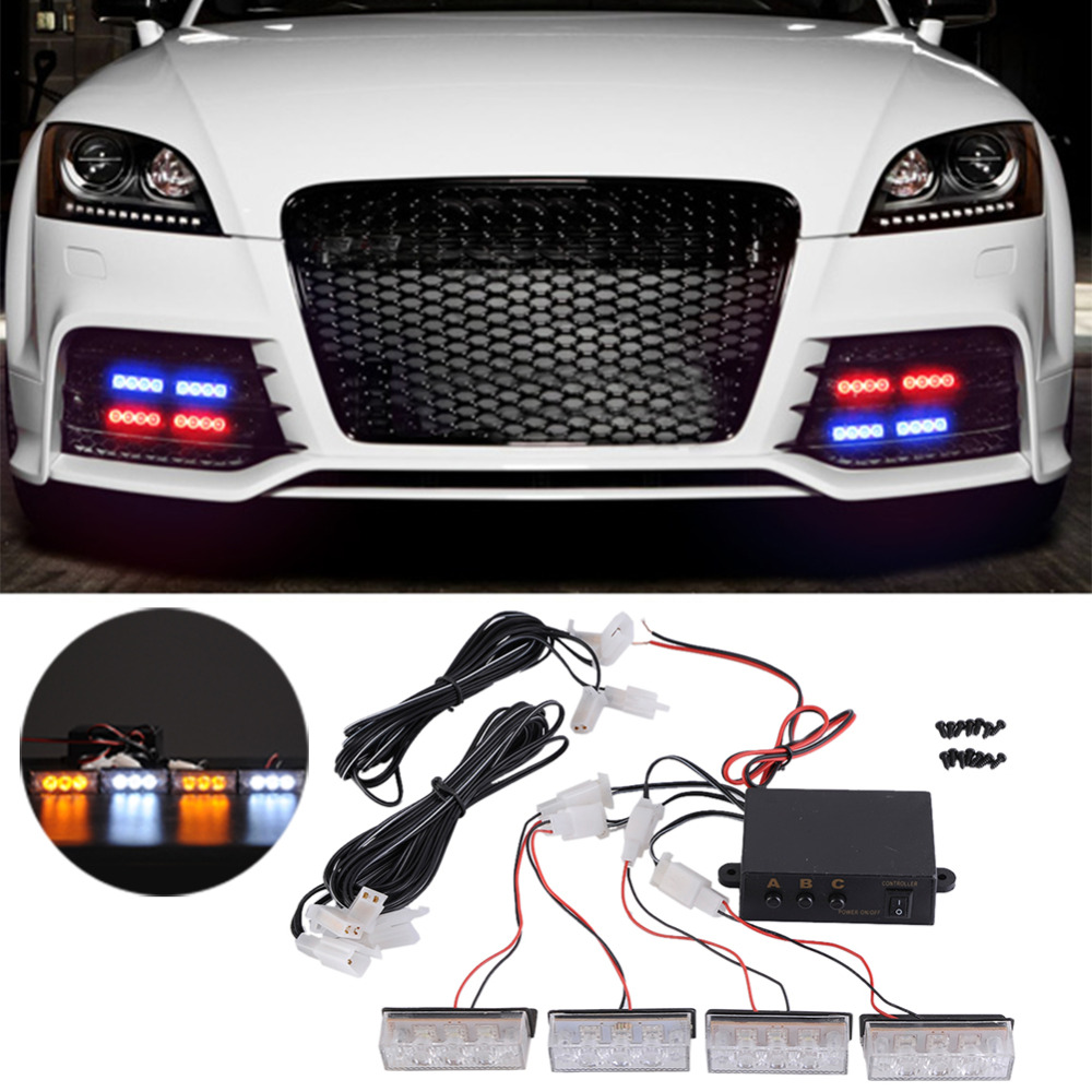 4x 3 LED 12V Strobe Emergency Flashing Light Car Auto Warning Lights 3 Flashing Modes For Auto Car Truck Accesories brand new universal 40 w 6 inch 12 v led car work light daytime running lights combo light off road 4 x 4 truck light