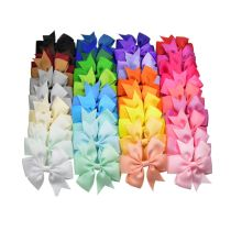 20pcs/simple fashion new solid color ribbed bow hairpin hair accessories baby headdress wholesale  (Random Color)