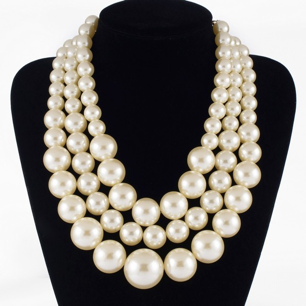 Free Shipping Resin Big White Faux Handmade Pearls Multi Strand 3 Layer Chunky Evening Party Holidays Wedding Necklace