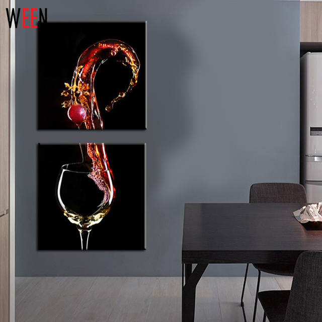 3 Panels Home Decor Wall Decorative Frameless Canvas Printing Wine Glass  Picture On Canvas Wall Art